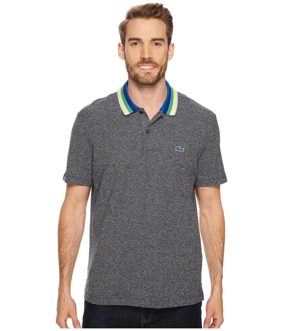 Lacoste - Holiday Short Sleeve Slubbed Pique Polo - Regular Fit (Astrophylite Chine/Multicolor) Mens Short Sleeve Pullover