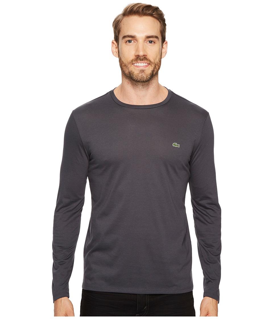 Lacoste Long Sleeve Pima Jersey Crew Neck Tee Shirt (Graphite) Men