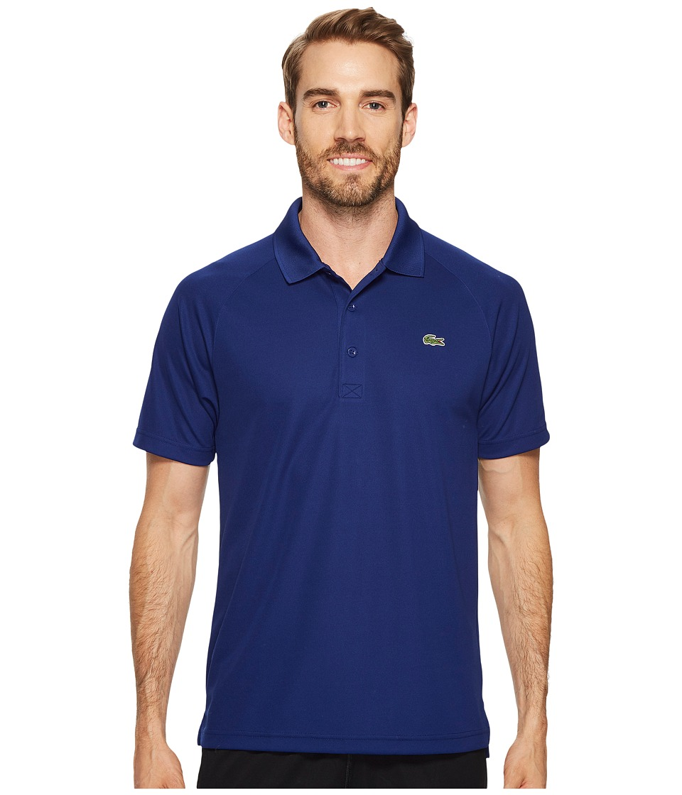 Lacoste - Sport Short Sleeve Ultra Dry Raglan Sleeve Polo (Ocean) Mens Short Sleeve Pullover