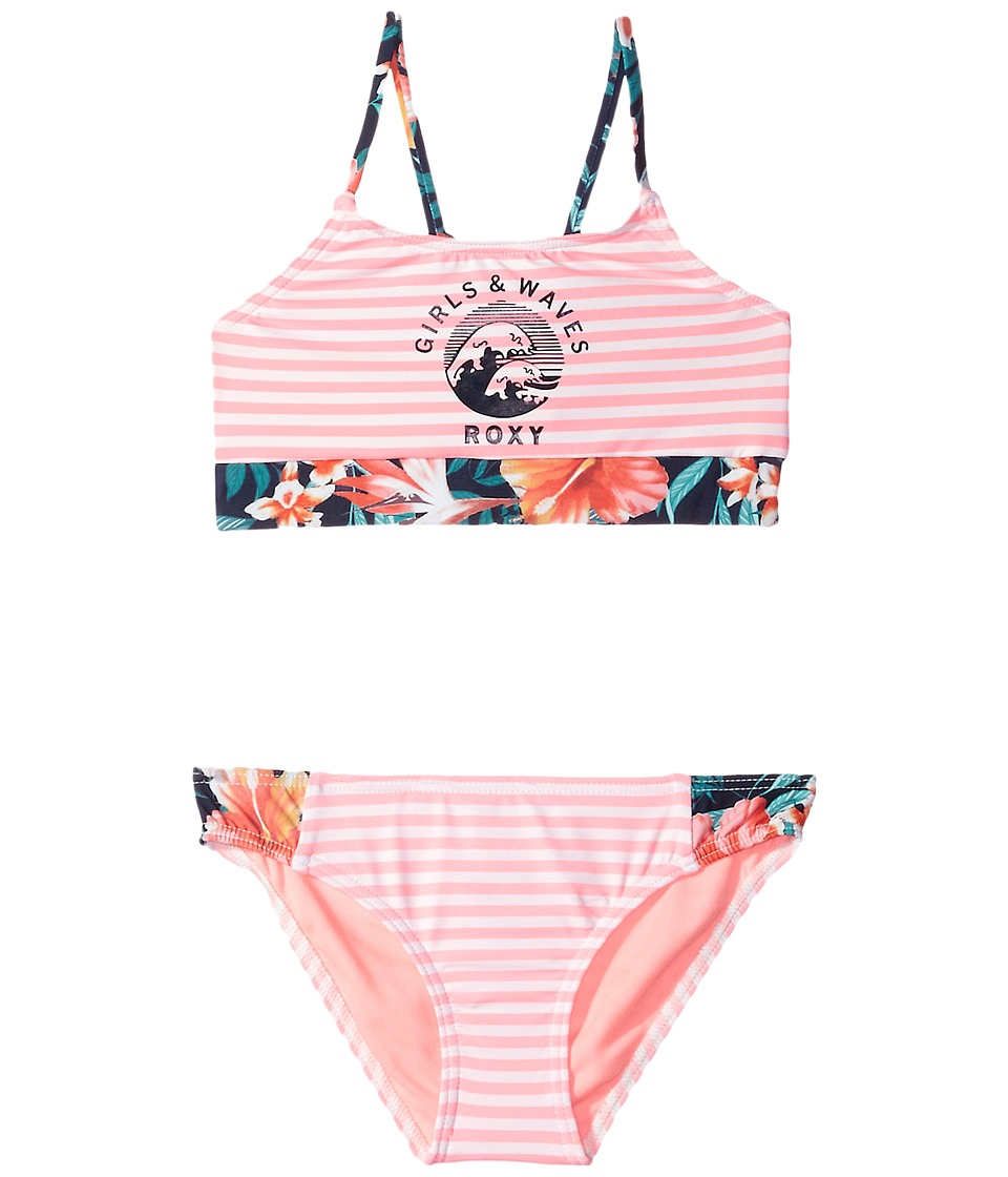 Roxy Kids Waves Crop Bra Set (Big Kids) (Marshmallow Swim Easy Stripe) Girl