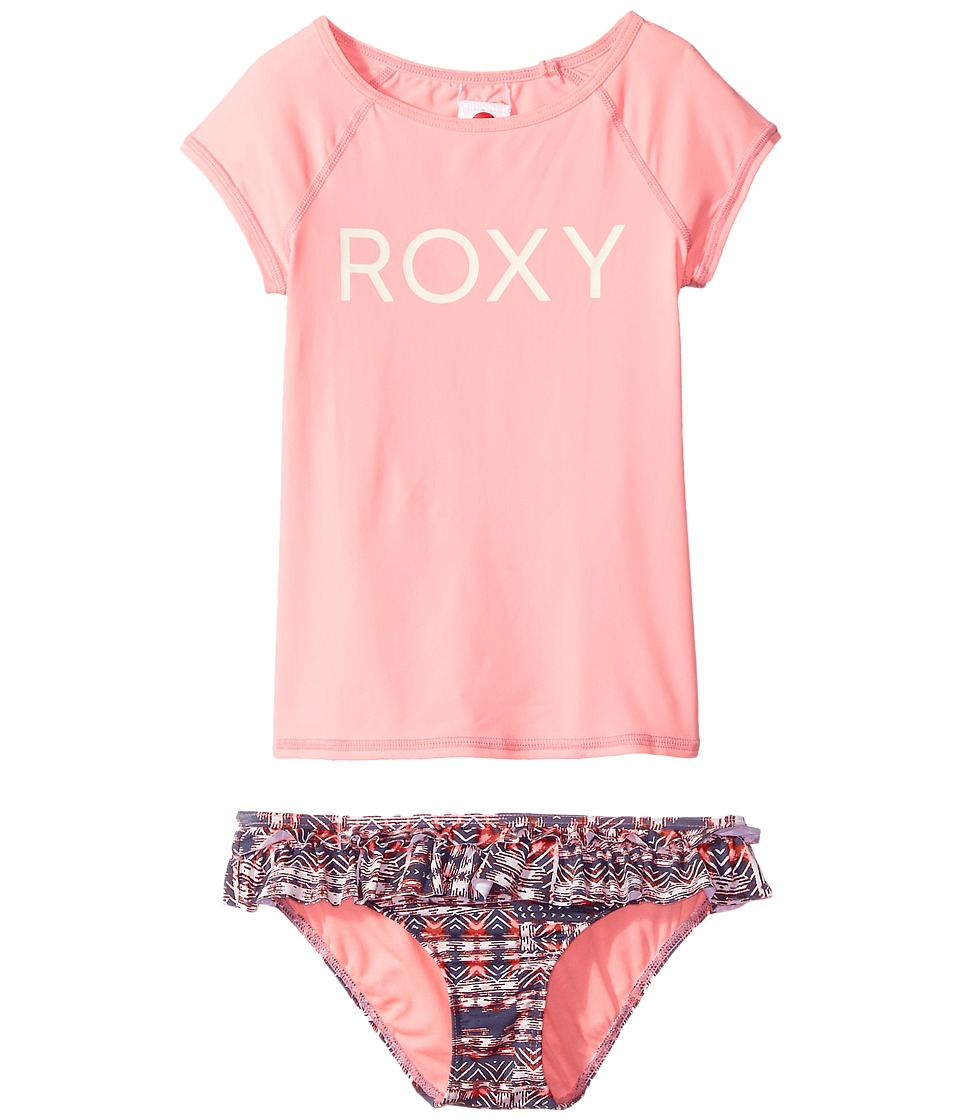 Roxy Kids Wavy Beach Short Sleeve Lycra Rashguard Set (Big Kids) (Marshmallow Mexican Rug) Girl