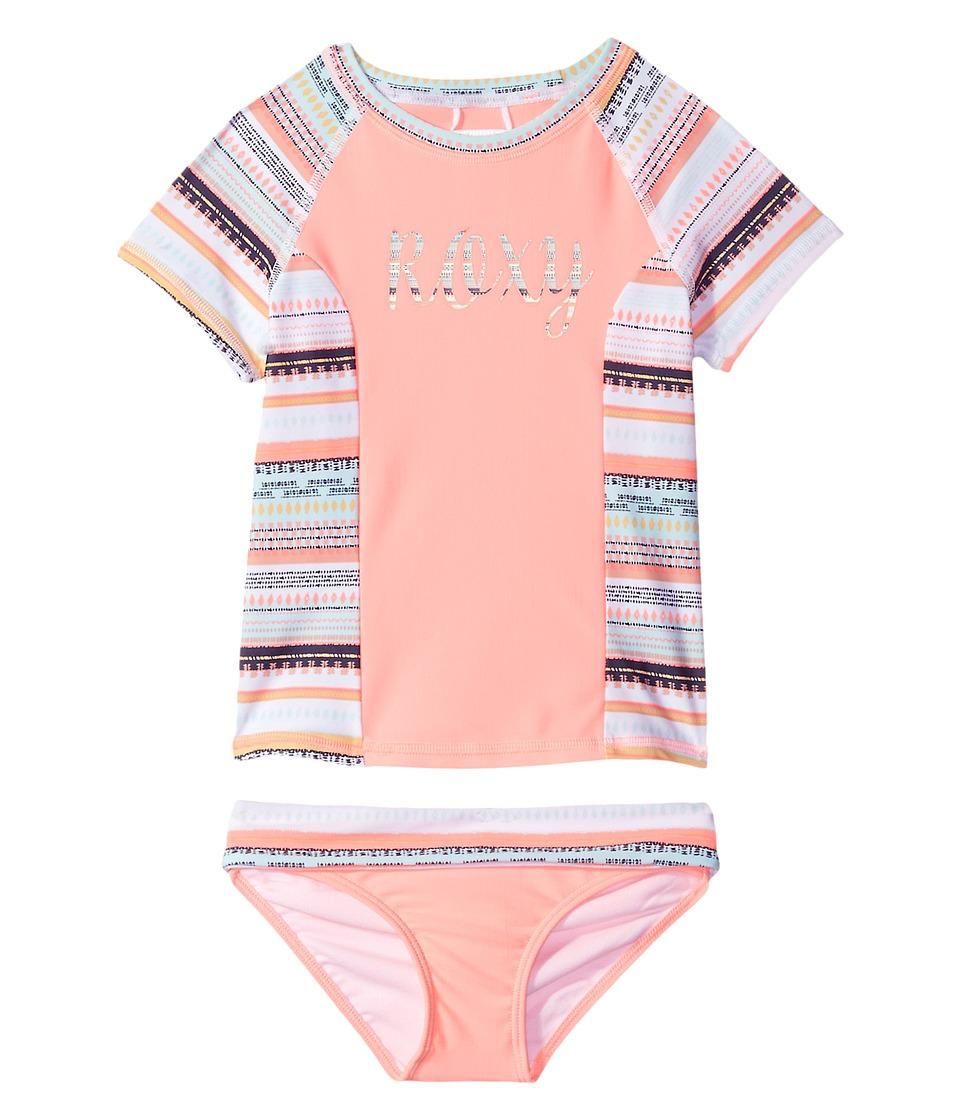 Roxy Kids Little Indi Short Sleeve Lycra Rashguard Set (Toddler/Little Kids) (Bright White Livin Dream Stripe) Girl