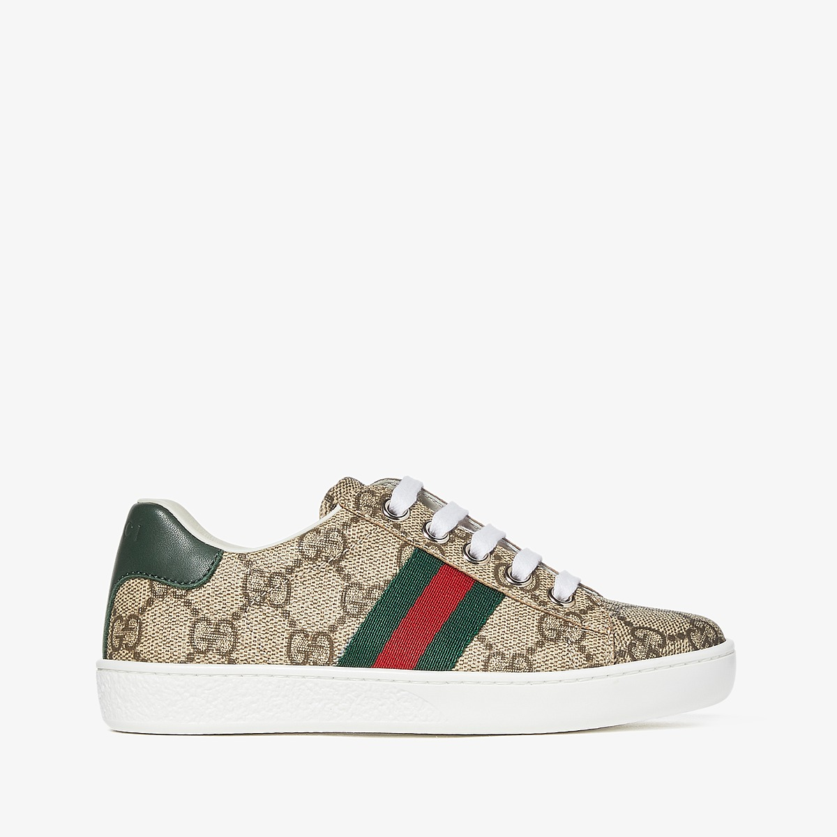 Gucci Kids GG Supreme Low-Top Sneakers (Little Kid) (Beige) Kids Shoes