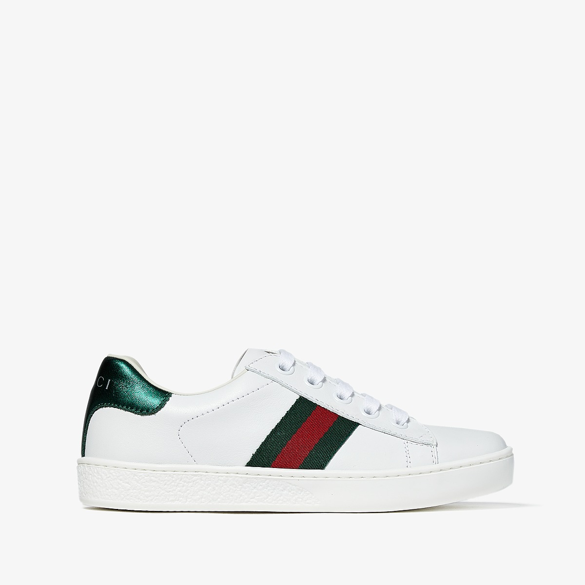 Gucci Kids - New Ace Sneakers (Little Kid) (White) Kids S...