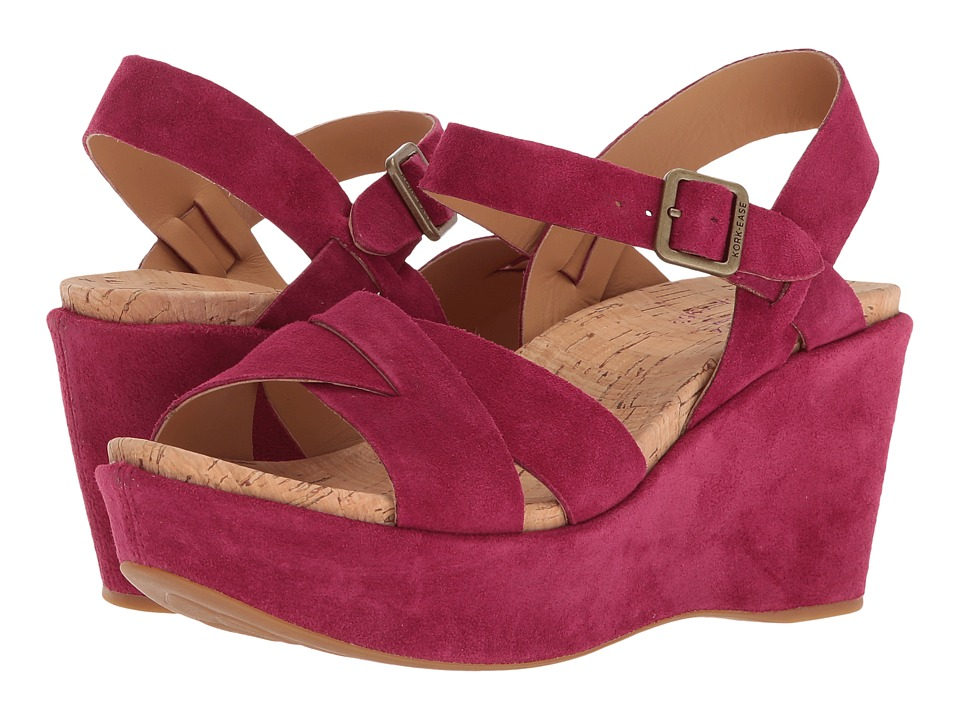 1940s Style Shoes, 40s Shoes Kork-Ease - Ava 2.0 Fuchsia Suede Womens Wedge Shoes $145.00 AT vintagedancer.com