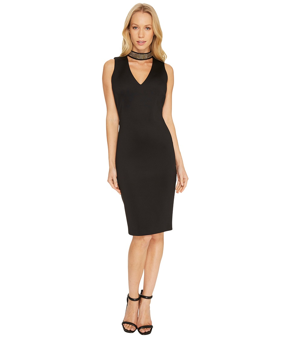 Calvin Klein Chain Neck with Front Cut Out Sheath Dress CD7M153M (Black) Women