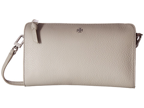 Tory Burch Robinson Pebbled Wallet Crossbody - Concrete