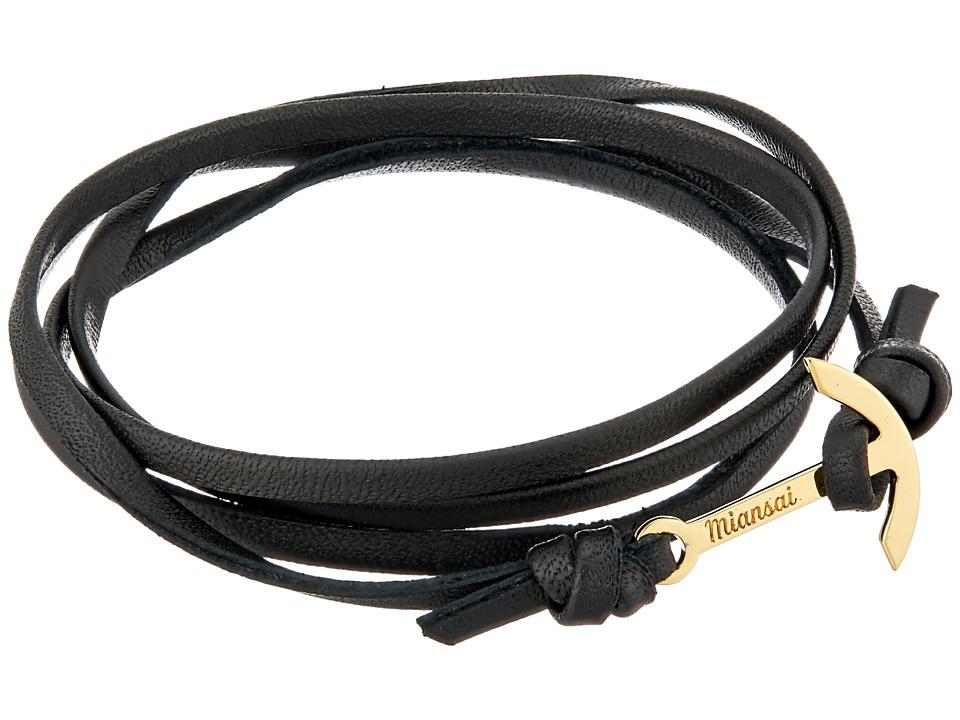 Miansai - Mini Modern Anchor Leather Bracelet (Black) Bracelet