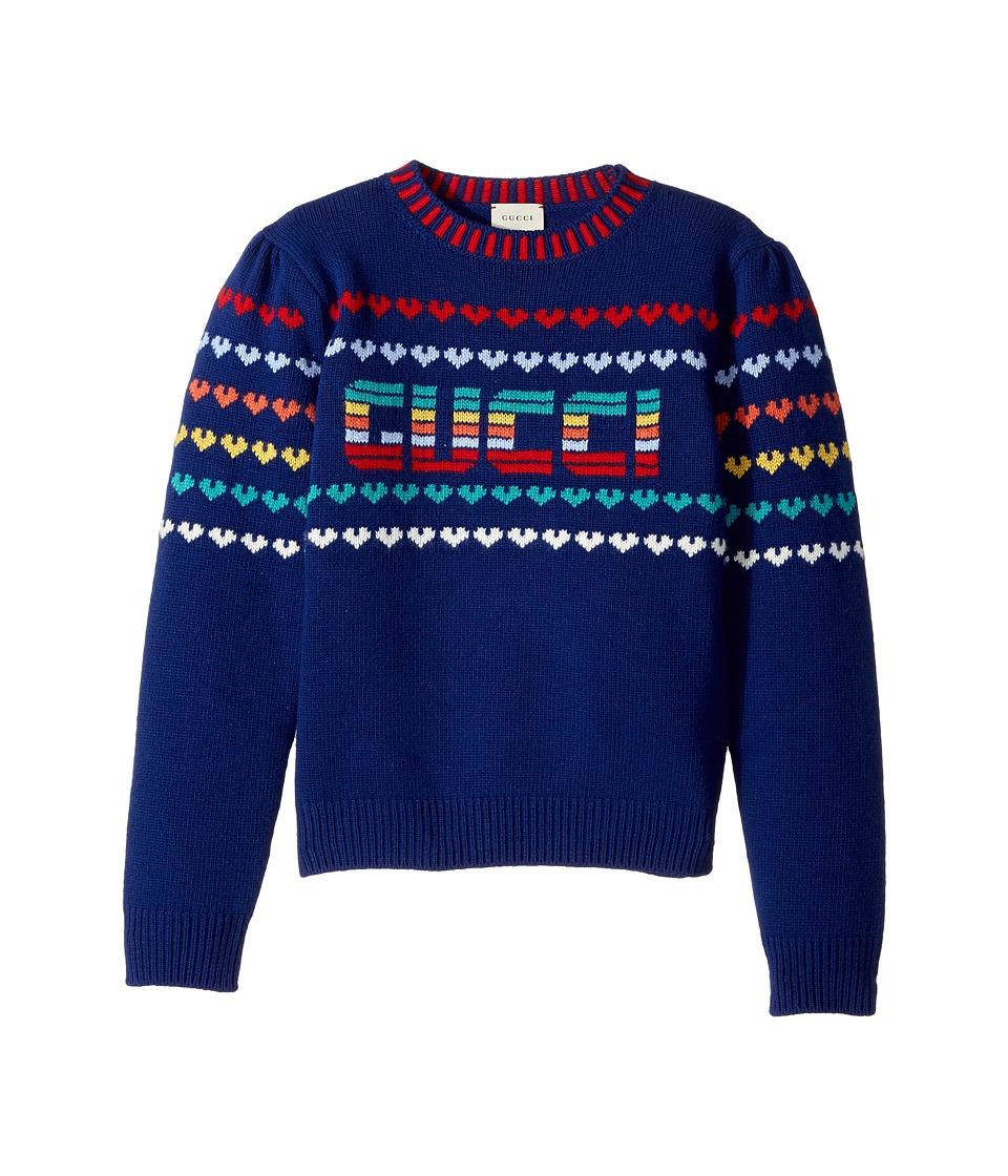 Gucci Kids - Knitwear 478576X7A50 (Little Kids/Big Kids) (Indigo/Red) Girls Clothing
