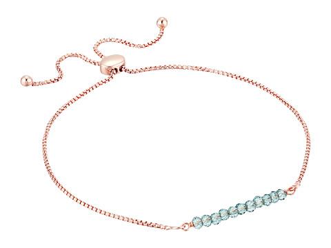 Dee Berkley Friendship Adjustable Bracelet 14KT Rose Gold Plated Sterling Silver and Coated Quartz - Rose/Green