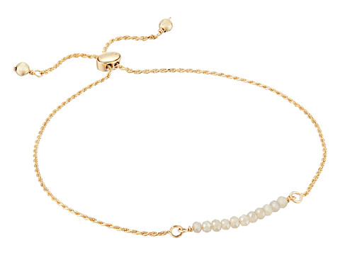 Dee Berkley Friendship Adjustable Bracelet 14KT Gold Plated Sterling Silver and Coated Quartz - Gold/Beige