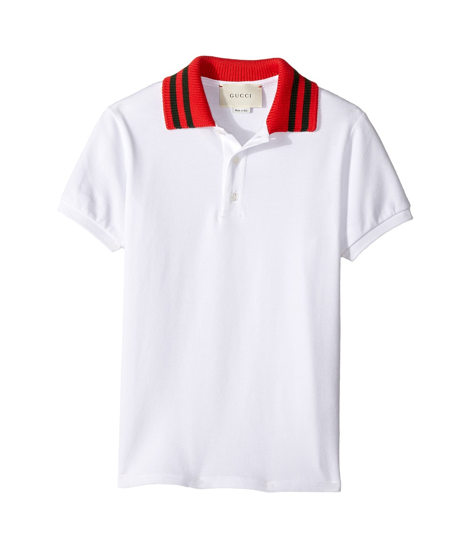 Gucci Kids - Polo 431309X5B87 (Little Kids/Big Kids) (White/Green/Red) Boys Short Sleeve Pullover