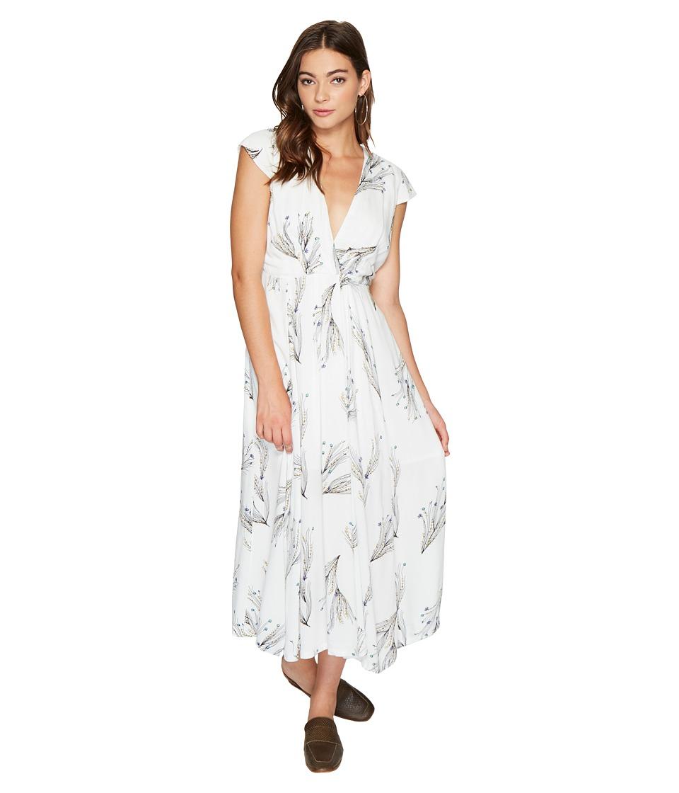 Free People Printed Retro Midi Dress (Ivory) Women