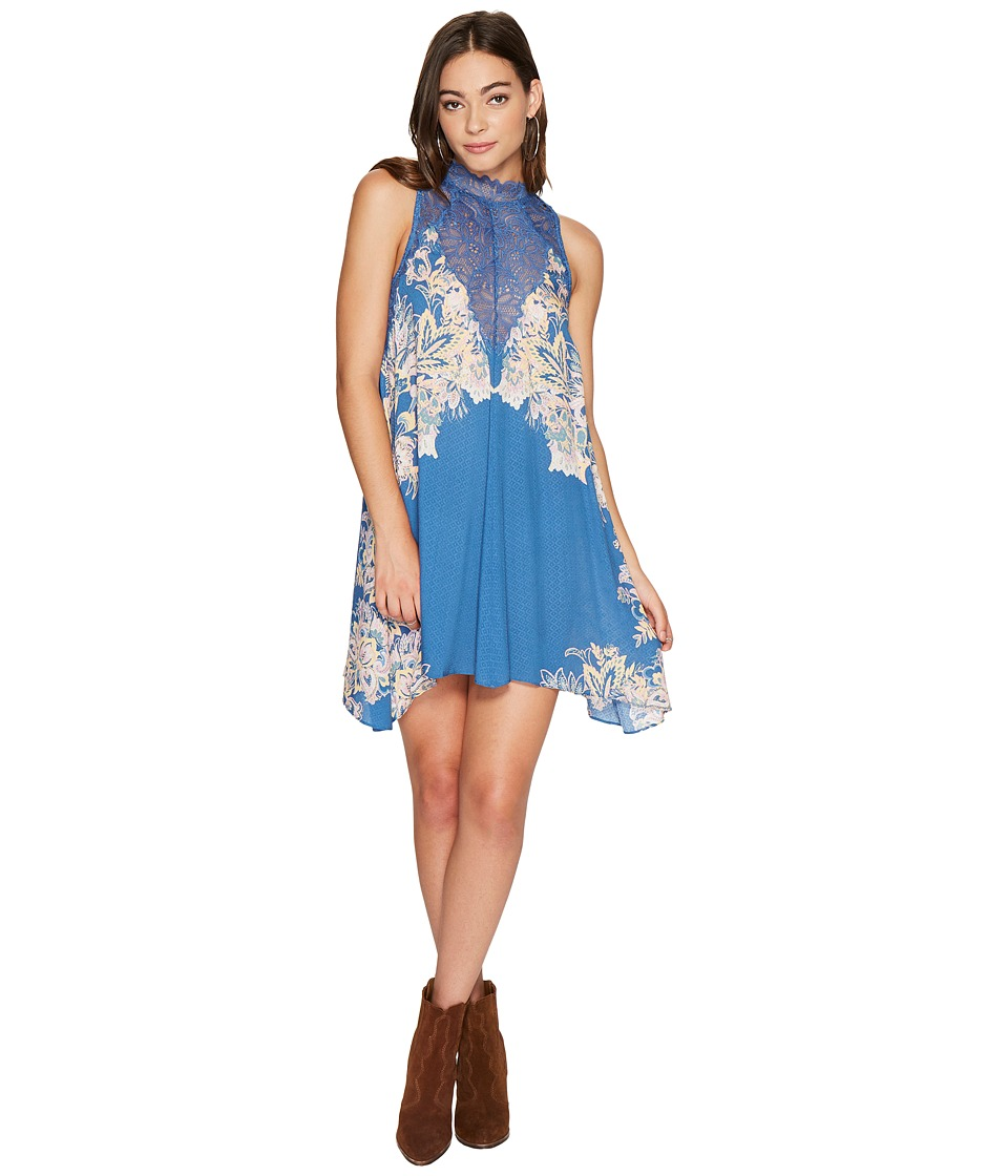 Free People Marsha Printed Slip Dress (Dark Blue) Women
