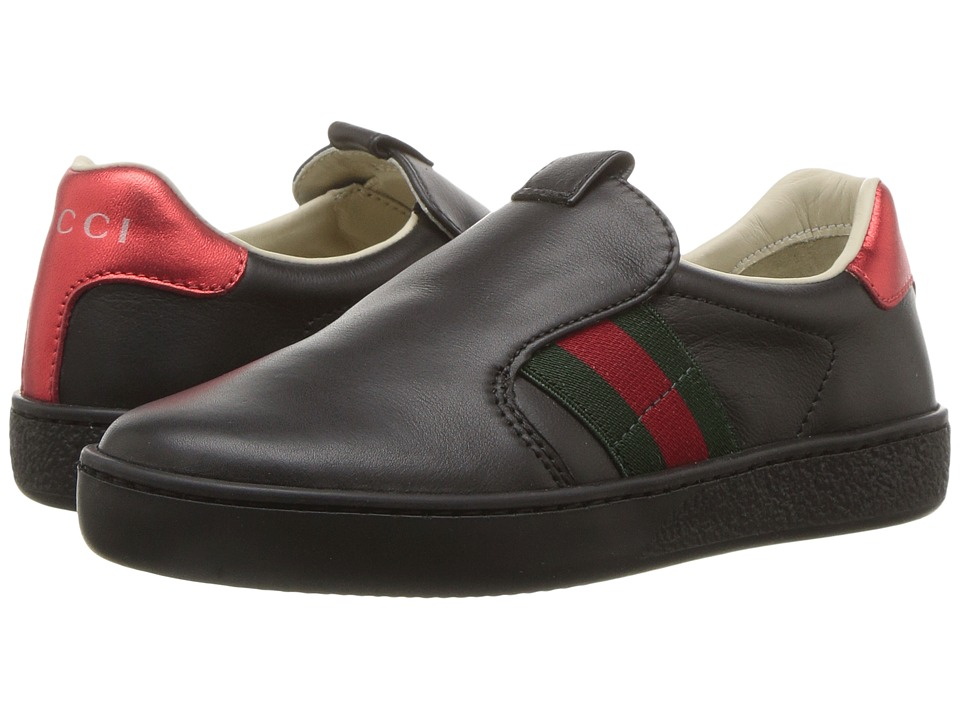 Gucci Kids New Ace Fit Sneakers (Little Kid) (Black) Kids Shoes