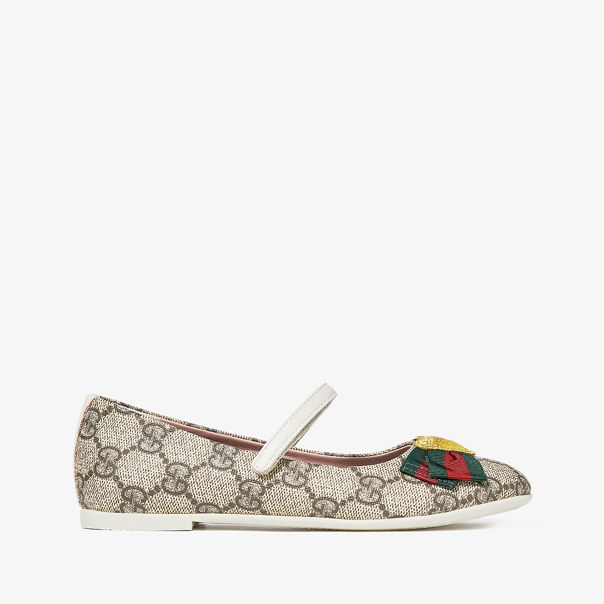 Gucci Kids Erin Ballerina (Little Kid) (Beige) Girls Shoes