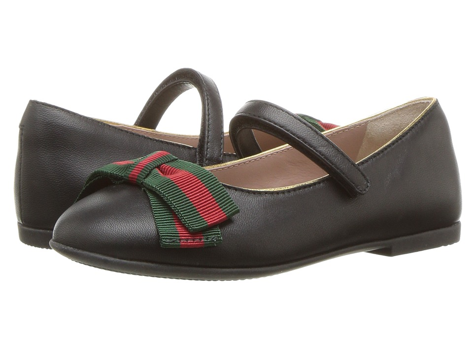 Gucci Kids Cindy Ballerina (Toddler) (Black) Girls Shoes