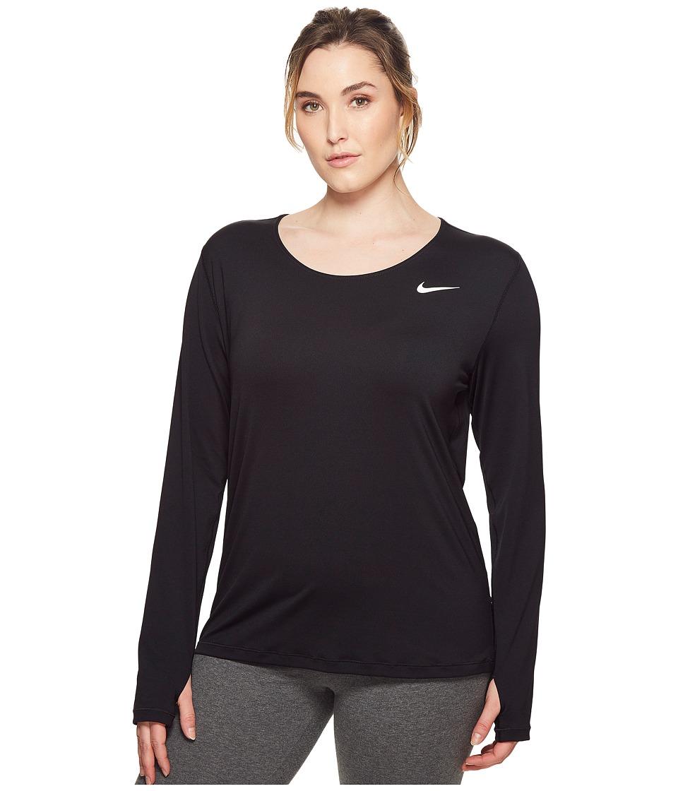 Nike Pro Mesh Long Sleeve Top (Size 1X-3X) (Black/White) Women