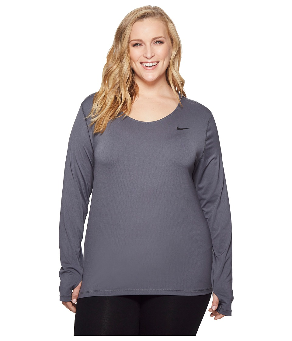 Nike Pro Mesh Long Sleeve Top (Size 1X-3X) (Dark Grey/Black) Women