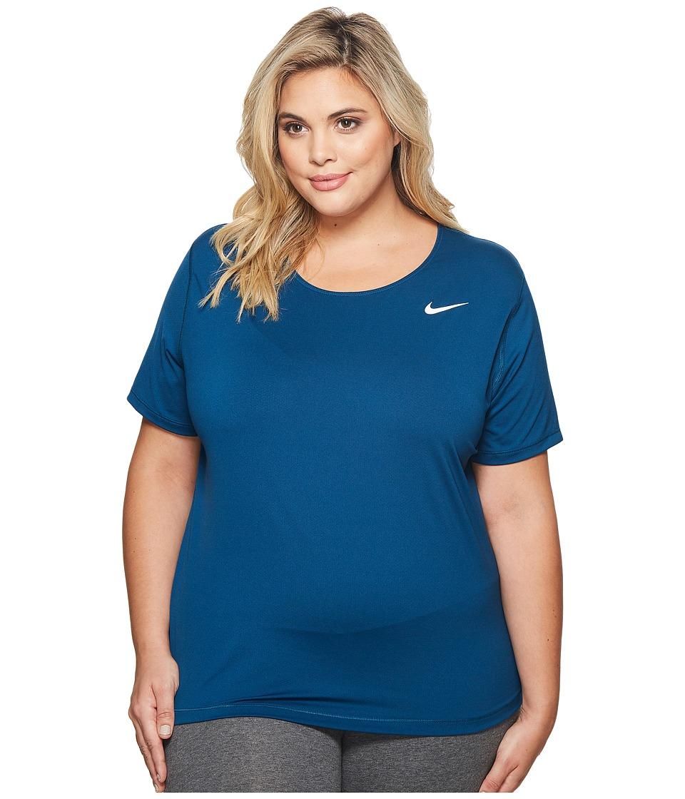 Nike Pro Mesh Short Sleeve Top (Size 1X-3X) (Blue Force/White) Women