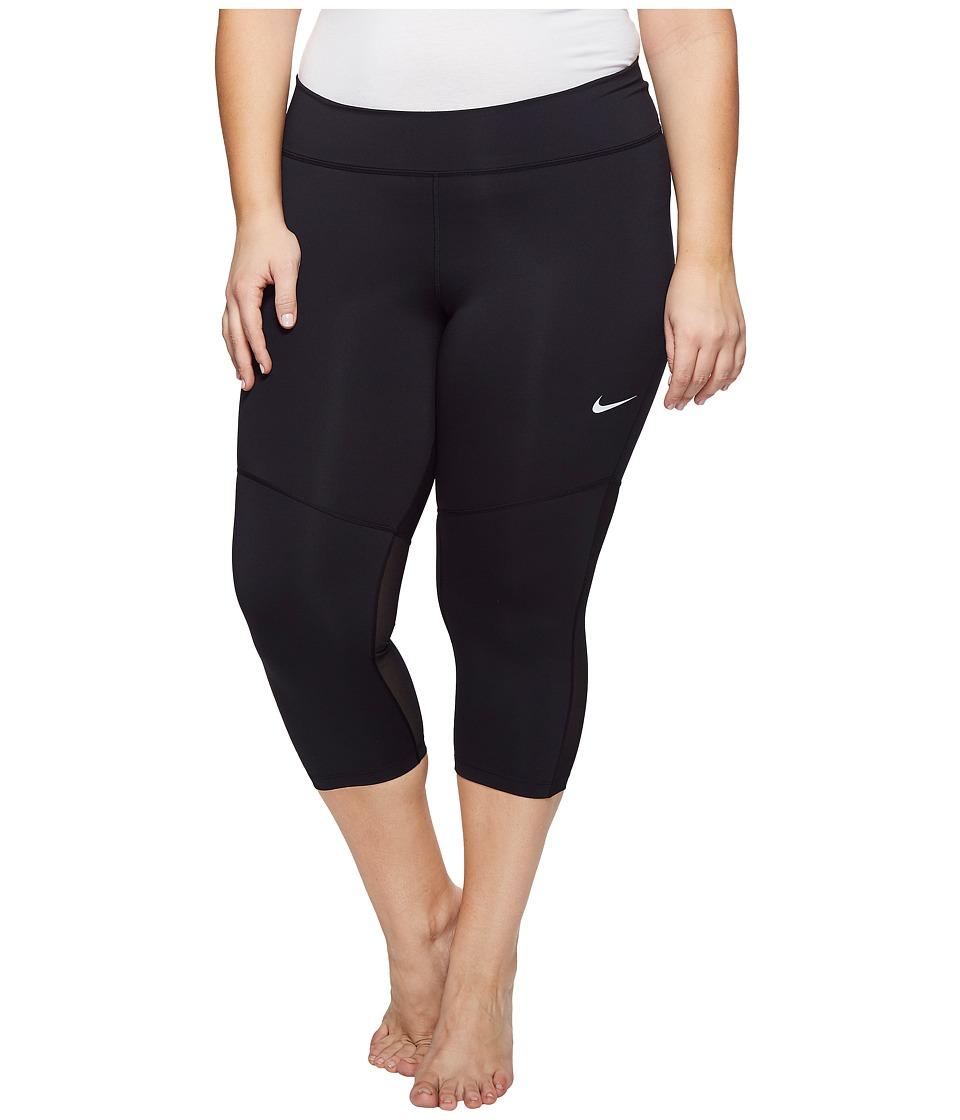 Nike Power Training Capri (Size 1X-3X) (Black/White) Women