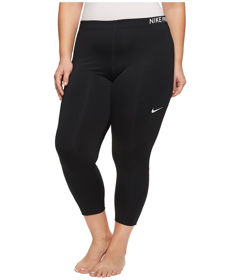 Nike Pro Training Capri (Size 1X-3X) (Black/Black/White) Women