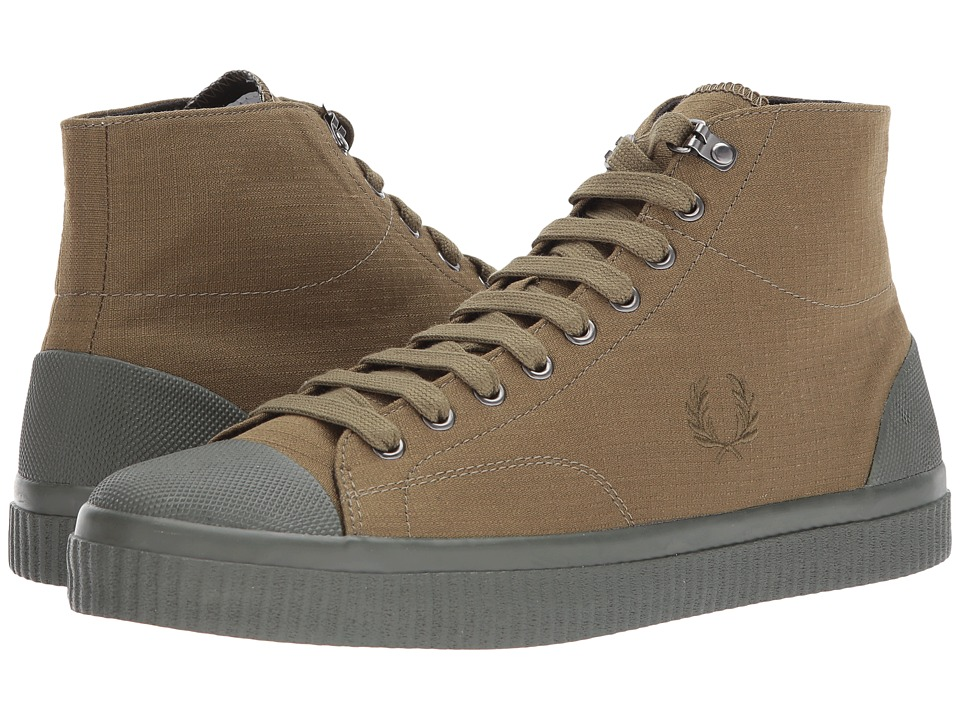 Fred Perry Hughes Mid Shower Resistant Canvas (Dark Olive) Men