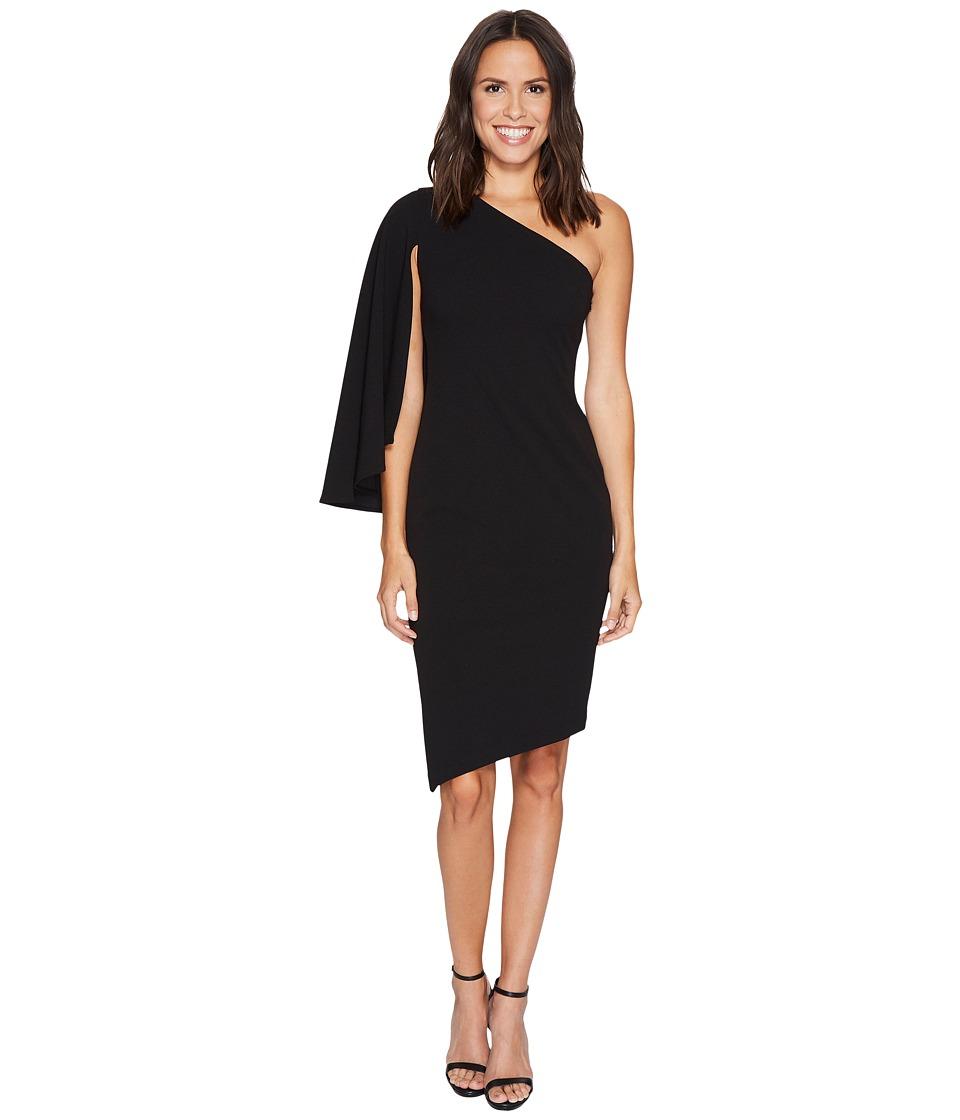 Calvin Klein One Shoulder Split Sleeve Asymmetric Hem Dress CD7C193R (Black) Women