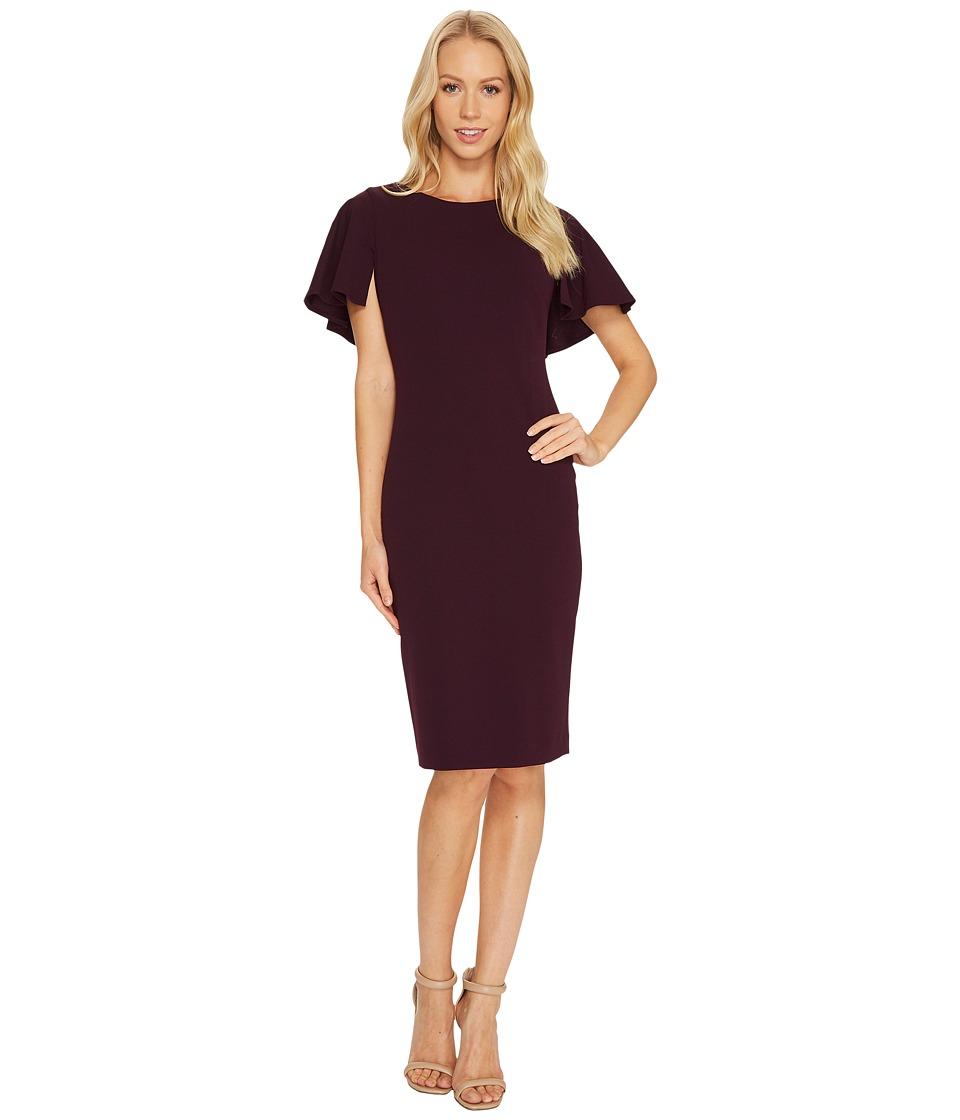 Calvin Klein Flutter Sleeve Sheath Dress CD7C133D (Aubergine) Women