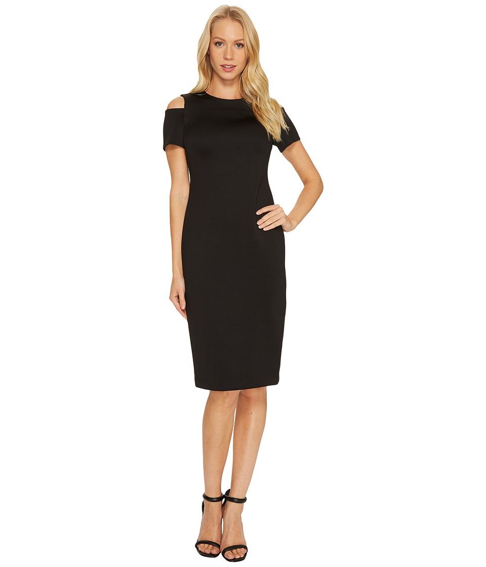 Calvin Klein Cold Shoulder Scuba Dress CD7M114R (Black) Women