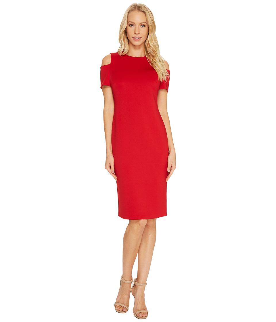 Calvin Klein Cold Shoulder Scuba Dress CD7M114R (Red) Women