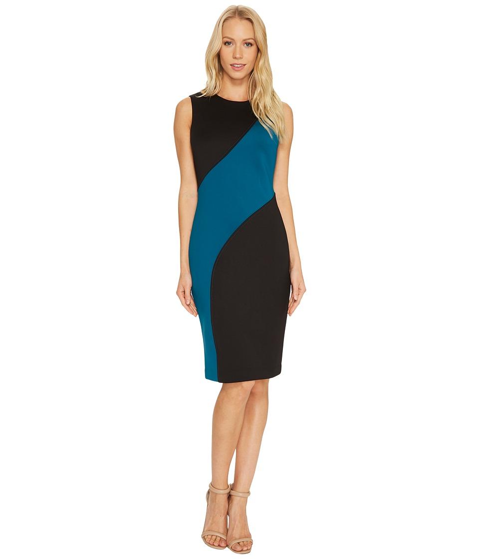 Calvin Klein Color Block Sheath Dress CD7M126T (Black/Cypress) Women
