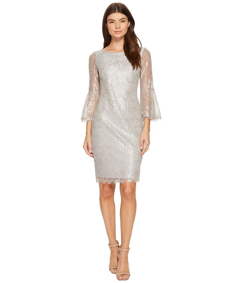 Calvin Klein Bell Sleeve Lace Dress CD7L12CE (Sandstone Silver) Women
