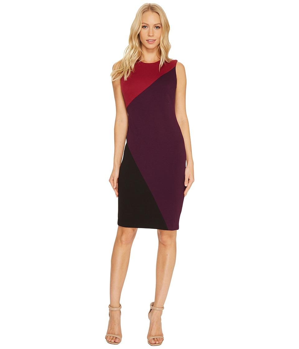 Calvin Klein Color Block Sheath Dress (Persimmon/Aubergine/Black) Women