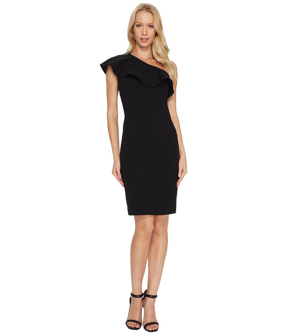 Calvin Klein One Shoulder Ruffle Sheath Dress CD7C124Y (Black) Women