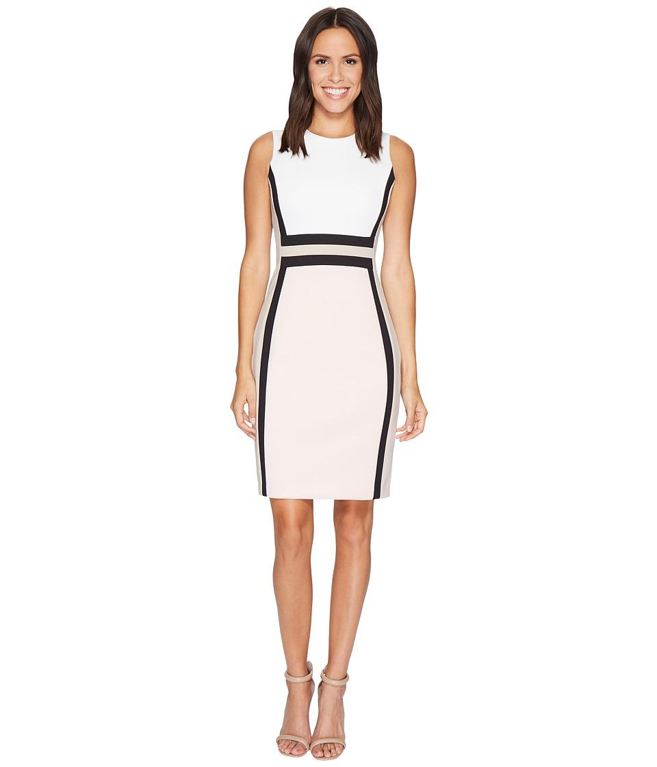 Calvin Klein Color Block Scuba Sheath Dress CD7M1V5K (Cream/Blush Multi) Women