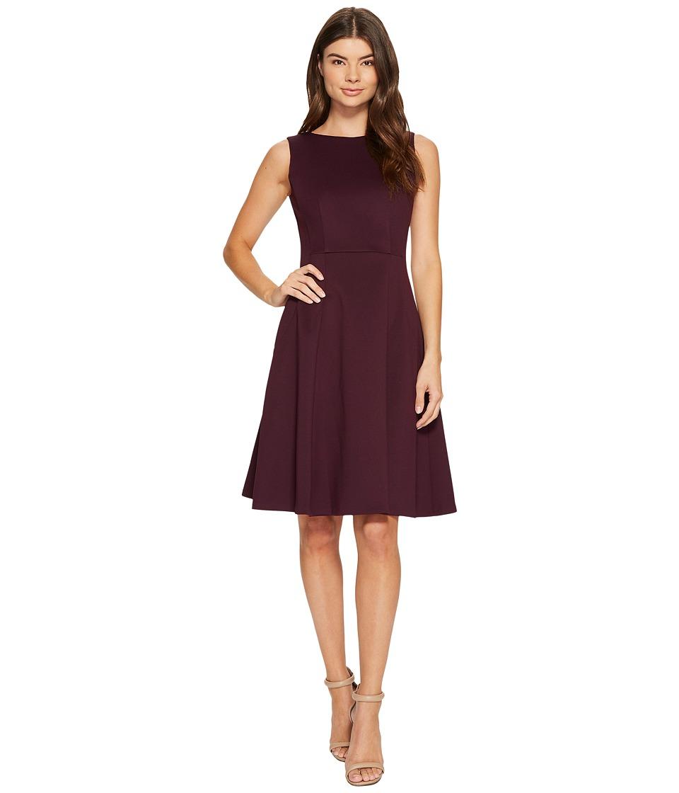 Calvin Klein Scuba Fit Flare Dress CD7M18AW (Aubergine) Women