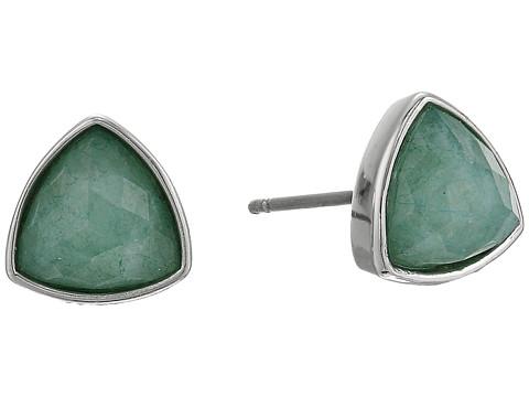 Vera Bradley Geo Facets Triangle Earrings - Silver Tone/Mint