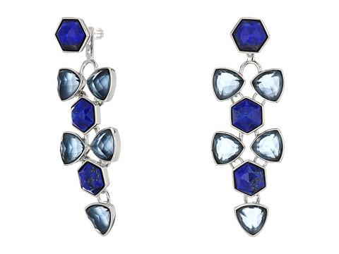 Vera Bradley Geo Facets Convertible Earrings - Silver Tone/Blue