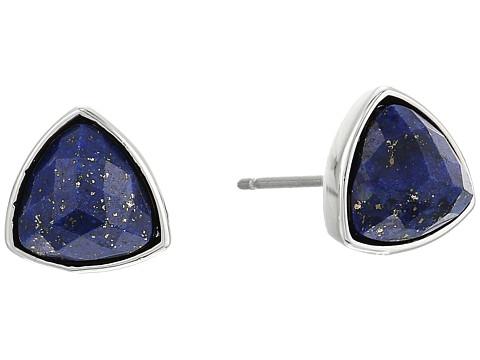 Vera Bradley Geo Facets Triangle Earrings - Silver Tone/Blue
