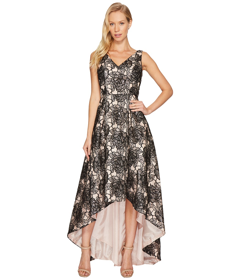 Calvin Klein Sequin Flower Print Embroidery High-Low Gown CD7BC07L (Black/Nude) Women