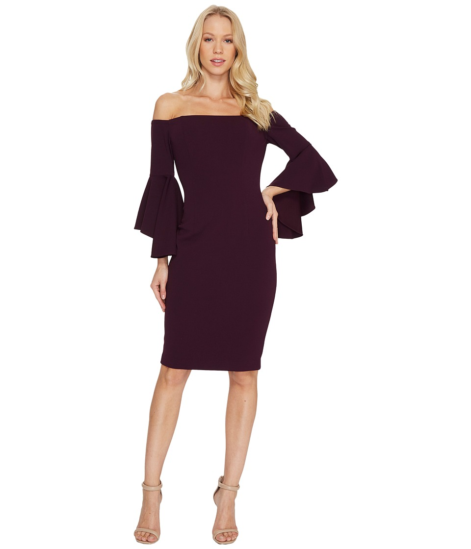 Calvin Klein Off Shoulder Flutter Sleeve Sheath Dress CD7B15DT (Aubergine) Women