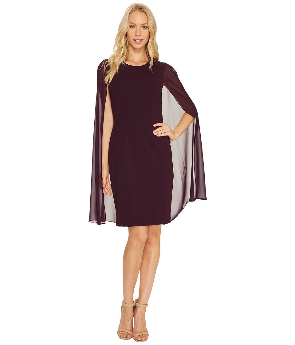 Calvin Klein Sheath Dress with Cape CD6B114C (Aubergine) Women