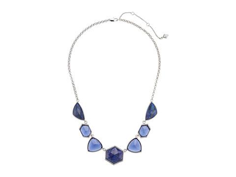 Vera Bradley Geo Facets Statement Necklace - Silver Tone/Blue