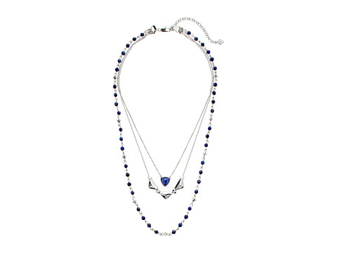 Vera Bradley Geo Facets Layered Necklace - Silver Tone/Blue
