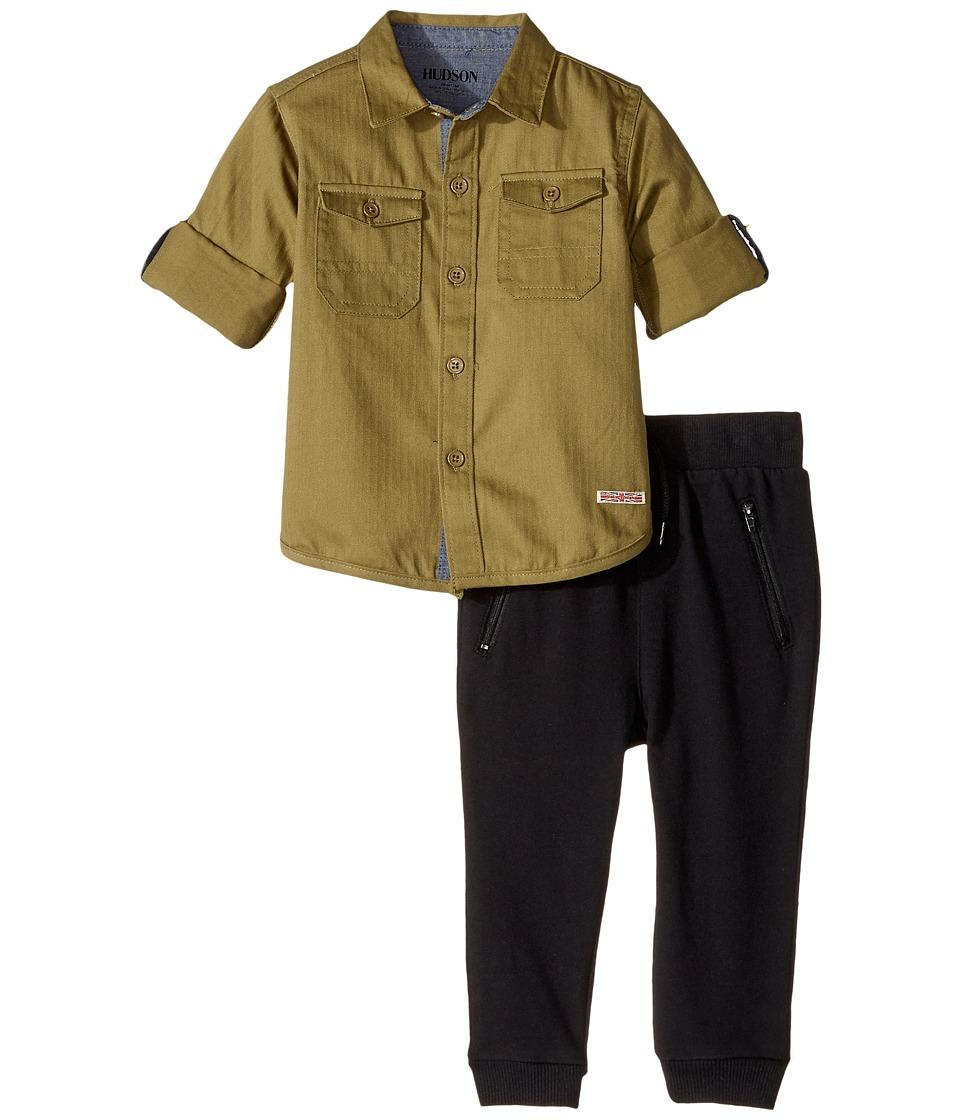 Hudson Kids - Two-Piece Woven Button Down Shirt Fleece Jogger