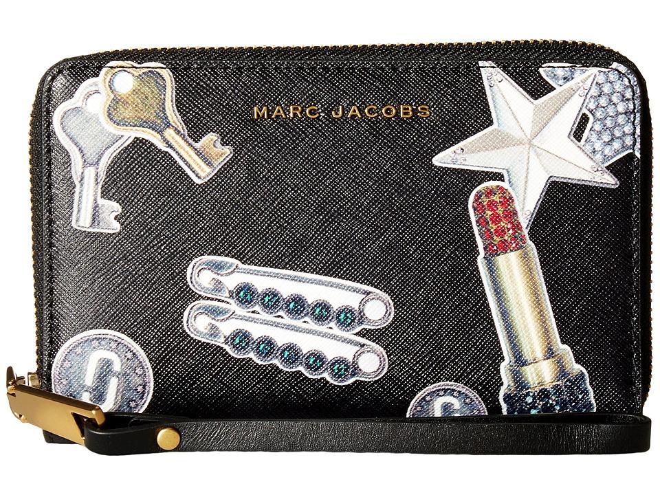 Marc Jacobs - Tossed Charms Saffiano Zip Phone Wristlet (Black Multi) Wristlet Handbags
