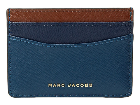 Marc Jacobs Saffiano Color Blocked Card Case - Bright Teal Multi