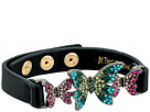 Betsey Johnson - Black Leather Bracelet with Colorful Butterflies