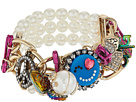 Betsey Johnson - Gold and Pearl Charm Stretch Bracelet